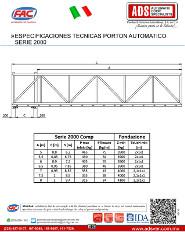 Especificaciones Tecnicas Porton Automatico Serie 2000 FAC, ADS Puertas & Portones Automaticos S.A. de C.V.