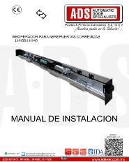 Manual de Instalación para Abrepuertas Corredizas, Sesamo, LH100-LH140, ADS Puertas & Portones Automaticos S.A. de C.V.