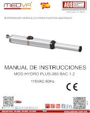 Medva,Manual Operador Hidraulico para Puertas Abatibles MOD.HYDROPLUS 360BAC, Puertas y Portones Automaticos S.A. de C.V.