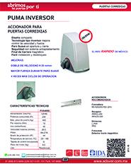 Abrepuertas Corredizo Erreka, Modelo,Puma, ADS Puertas y Portones Automaticos S.A. de C.V.